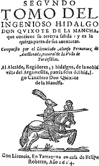 """Cubierta de la segunda parte del """"Quijote"""", de Alonso Fernández de Avellaneda"""
