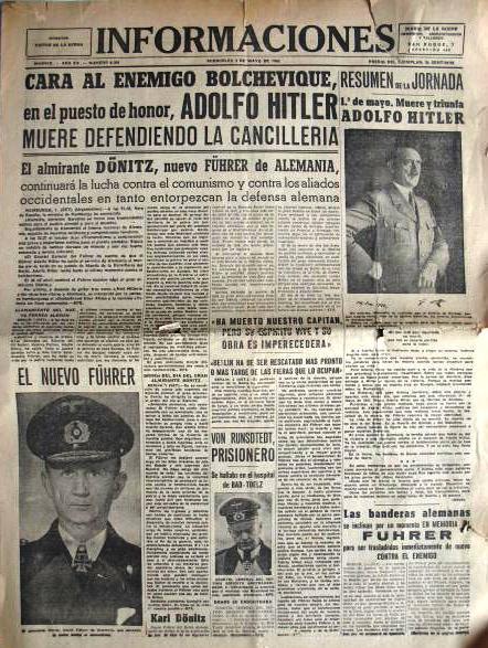 """Portada del diario madrileño """"Informaciones"""" en la que se informaba del derrumbamiento del régimen nazi en abril de 1945"""
