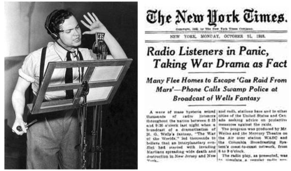 Orson Welles durante la emisión radiofónica de La guerra de los mundo y la portada del New York Times del día siguiente en la que se informaba de las repercusiones del programa de radio